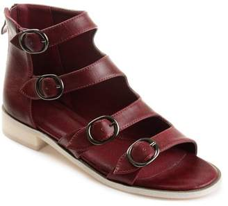 Co Brinley Womens Faux Leather High-top Distressed Side Buckle Sandals