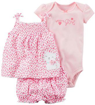 "Baby Girl Carter's ""Daddy's Girl"" Bodysuit, Splatter Cat Tank Top & Bubble Shorts Set $20 thestylecure.com"