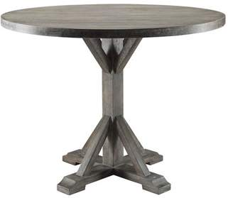 Acme Furniture Carmelina Round Dining Table In Weathered Gray Oak