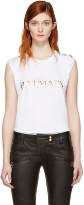 Balmain White Logo Sleeveless T-Shirt $255 thestylecure.com