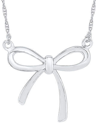 FINE JEWELRY Womens 10K White Gold Bow Pendant Necklace