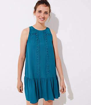 LOFT Petite Lace Trim Flounce Dress