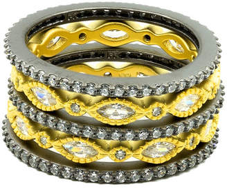 Freida Rothman Two-Tone Plated Sterling Silver CZ Eternity Stacking Ring Set - Size 6