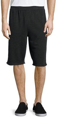 ATM Anthony Thomas Melillo Raw-Edge Knit Sweat Shorts, Charcoal $135 thestylecure.com