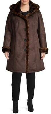 Gallery Plus Hooded Faux Suede & Faux Fur A-Line Coat