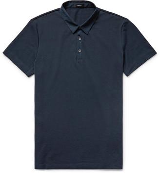 Slim-Fit Poplin-Trimmed Pima Cotton-Piqué Polo Shirt
