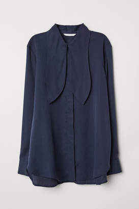 H&M Lyocell Tie-front Blouse - Blue