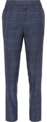 Kingsman Harry's Navy Slim-Fit Checked Wool, Silk And Linen-Blend Suit Trousers