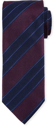 Canali Men's Double Repp Stripe Silk Tie, Burgundy