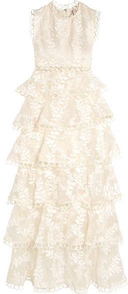 Zimmermann - Winsome Lace-trimmed Tieredembroidered Silk Maxi Dress - Ivory