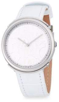Salvatore Ferragamo Stainless Steel and Leather-Strap Watch
