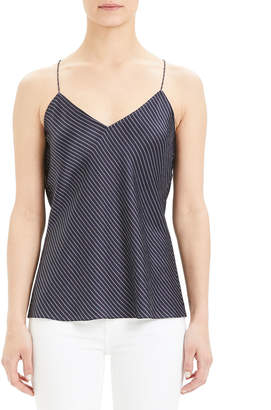 Theory Double Stripe Draped-Back Halter Slip Top
