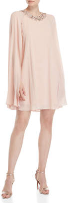 Vince Camuto Blush Beaded Cape Sleeve Dress