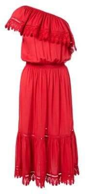 Melissa Odabash Asymmetric Ruffle Midi Dress
