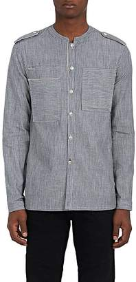 Pierre Balmain MEN'S STRIPED COTTON MANDARIN-COLLAR MILITARY SHIRT