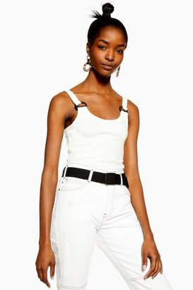 Topshop Womens Petite Buckle Ribbed Crop Cami