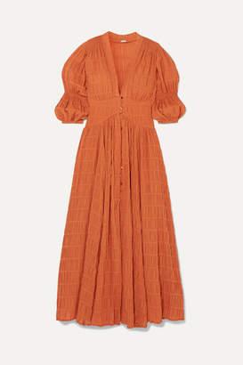 Cult Gaia Willow Shirred Cotton-blend Maxi Dress - Brown