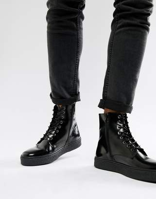 Zign Shoes cupsole lace up boots in black high shine