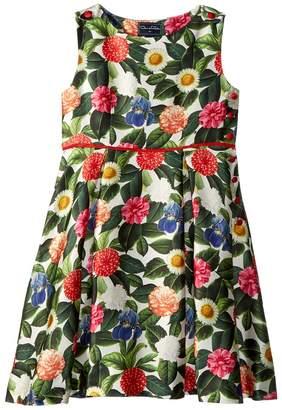 Oscar de la Renta Childrenswear Mikado Flower Jungle Button Dress with Pleats Girl's Dress
