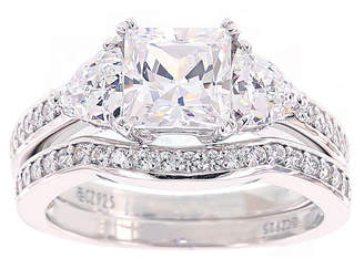 FINE JEWELRY DiamonArt Cubic Zirconia Sterling Silver 3-Stone Bridal Ring Set