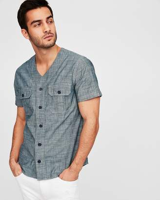 Express Slim V-Neck Short Sleeve Chambray Shirt