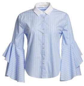 Jonathan Simkhai Ruffle Sleeve Button-Down Shirt