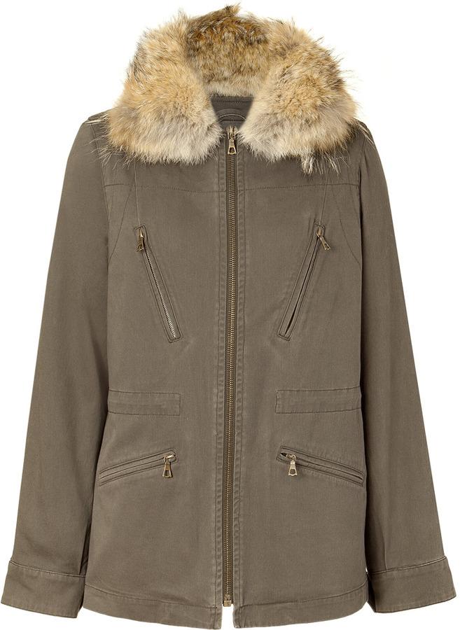 Yves Salomon Military Removable Fur Collar Jacket