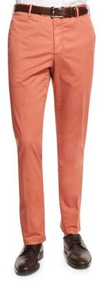Zanella Parker Cotton-Stretch Flat-Front Trousers, Red $325 thestylecure.com