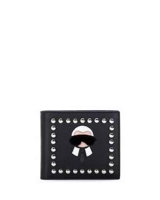 Fendi Karlito Bi-Fold Leather Wallet w/Mink Fur Details, Black $800 thestylecure.com