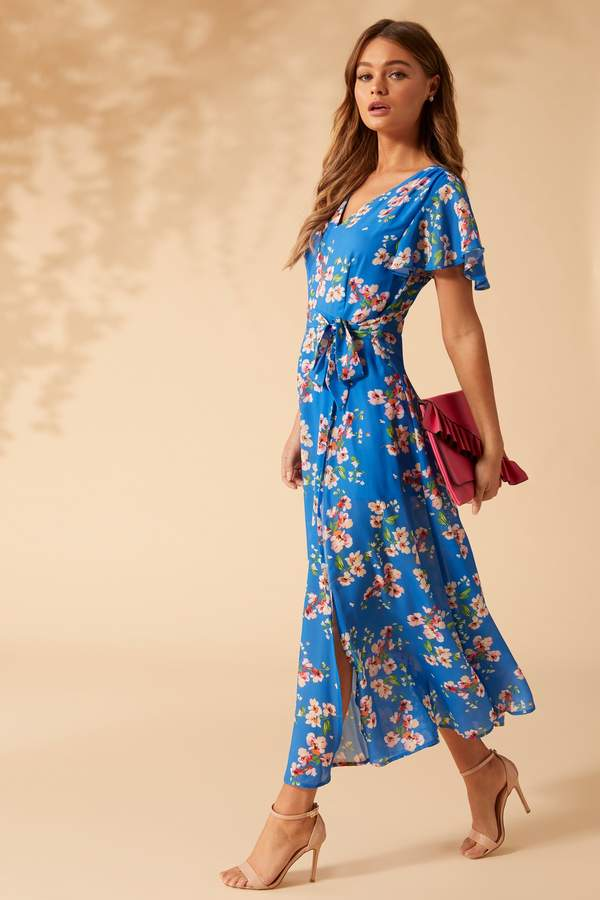 Womens Yumi Spring Flower Print Side Slit Maxi Dress