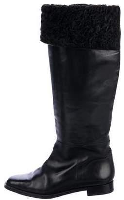 Manolo Blahnik Sheepskin-Lined Knee-High Boots