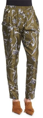 3.1 Phillip Lim Floral Silk Tapered Trousers, Dark Olive $450 thestylecure.com