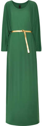 Norma Kamali Belted Jersey Maxi Dress - Forest green