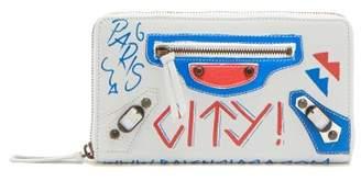 Balenciaga Classic City Mini Graffiti Print Leather Wallet - Womens - White Multi