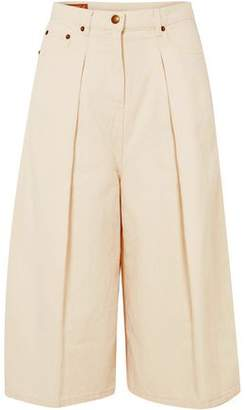 McQ Cropped Cotton And Linen-blend Wide-leg Pants