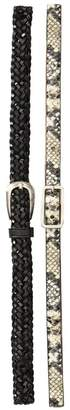 Fashion Focus ACCESSORIES Python Embossed & Braided Belt Set