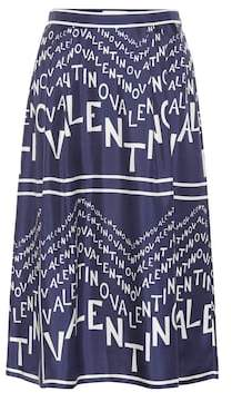 Valentino Printed silk twill midi skirt