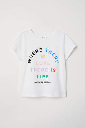 H&M T-shirt with Printed Text - White