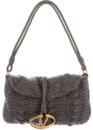 ValentinoValentino Cable Knit Cashmere Shoulder Bag