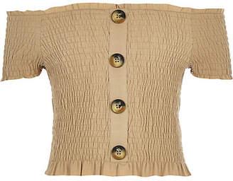 River Island Girls light brown button through bardot top