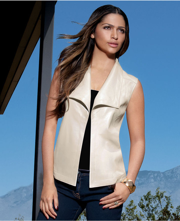 INC International Concepts Vest, Faux-Leather Motorcycle Draped