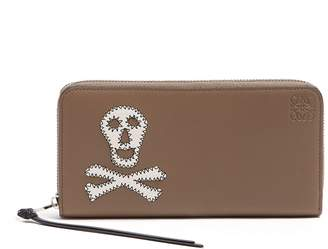 Loewe Skull-patch zip-around leather wallet