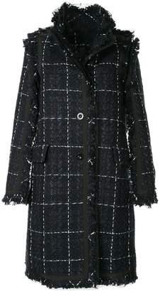 Sacai frayed grid print coat