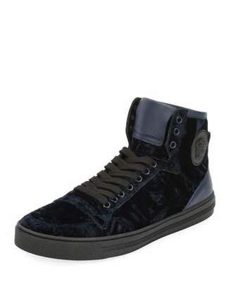 Versace Men's Velvet High-Top Sneakers, Navy