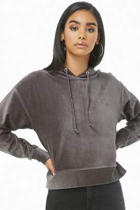Forever 21 Ribbed Velour Hooded Top