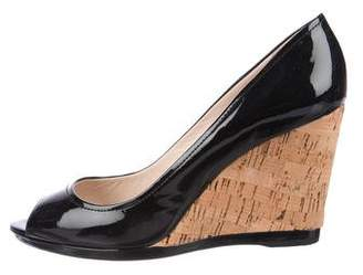 PeepToe Prada Sport Patent Leather Peep-Toe Wedges