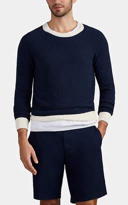 Eleventy Men's Contrast-Trimmed Cotton-Blend Bouclé Sweater - Navy