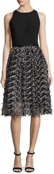 Carmen Marc Valvo Carmen Marc Valvo Sleeveless Crepe & Embroidered Mesh Cocktail Dress, Black/Pewter