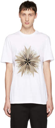 Neil Barrett White Cross Floral Golden Aura T-Shirt