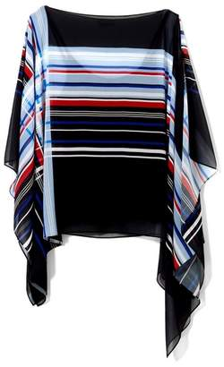 Vince Camuto Mixed-stripe Poncho Blouse